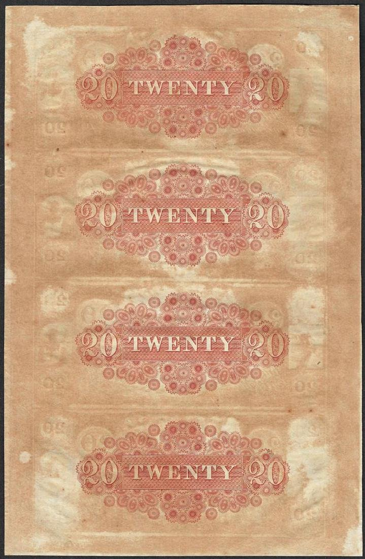 Uncut Sheet of 1800's $20 Canal Bank Obsolete Notes - 2