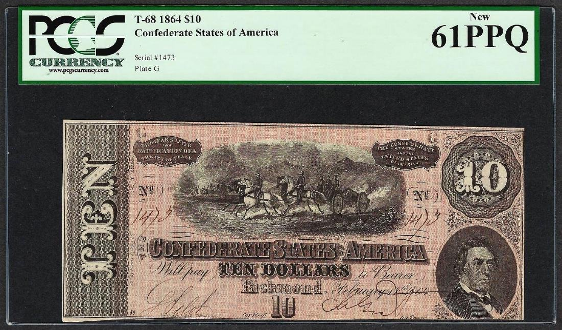 1864 $10 Confederate States of America Note T-68 PCGS