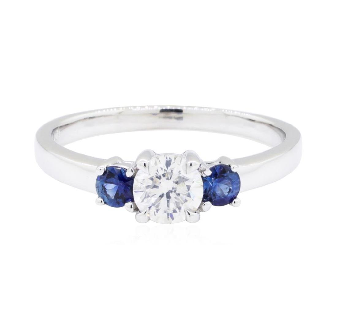 14KT White Gold 0.32 ctw Sapphire and Diamond Ring - 2