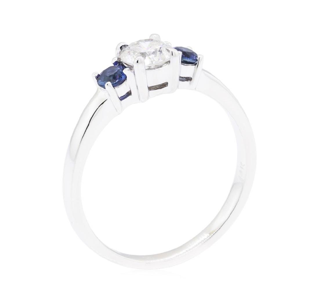 14KT White Gold 0.32 ctw Sapphire and Diamond Ring - 4