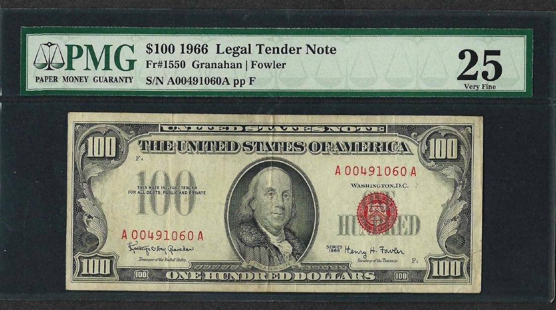 1966 $100 Legal Tender Note Fr.1550 PMG Very Fine 25