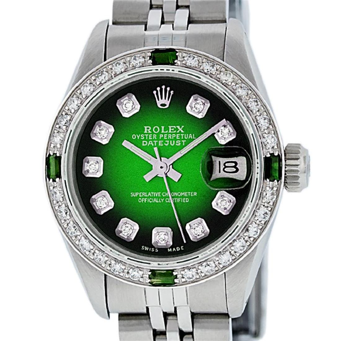 Rolex Ladies Stainless Steel 26MM Green Vignette
