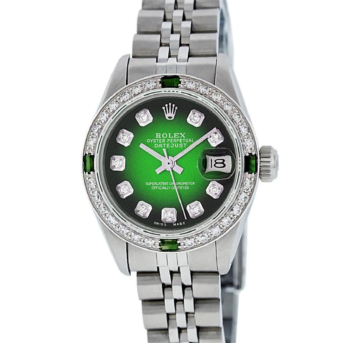 Rolex Ladies Stainless Steel 26MM Green Vignette - 2