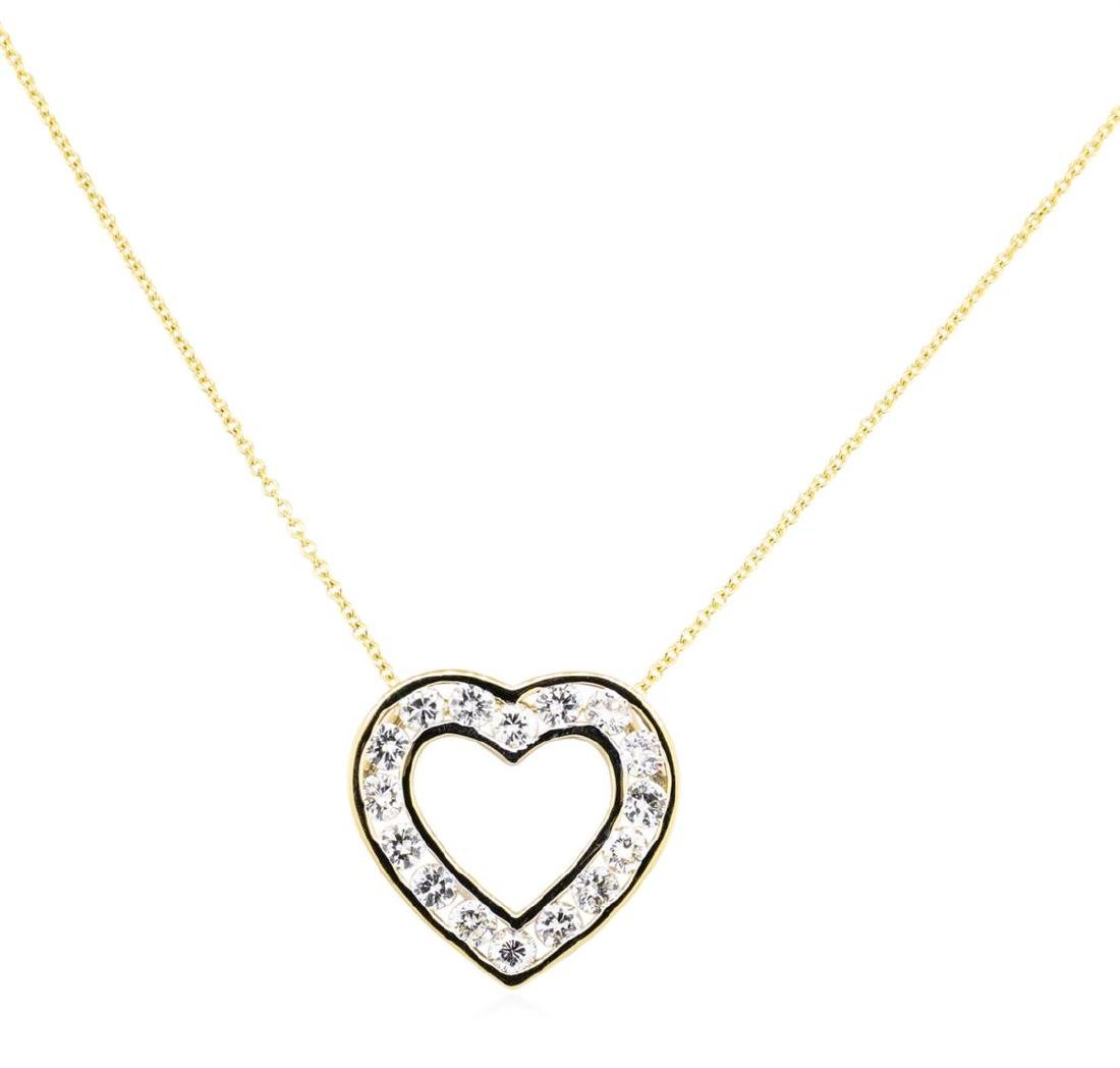 14KT Yellow Gold 1.50 ctw Diamond Heart Pendant with