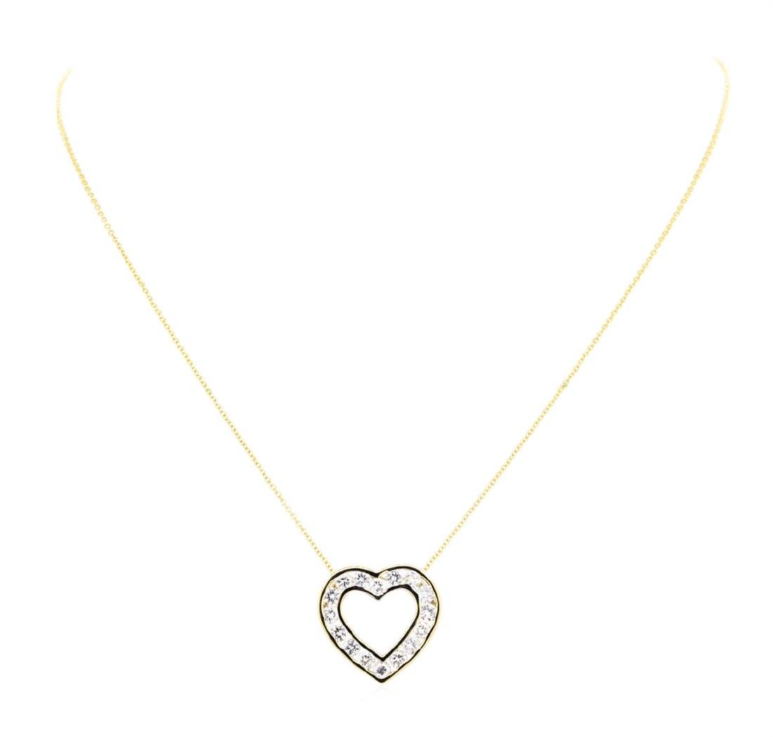 14KT Yellow Gold 1.50 ctw Diamond Heart Pendant with - 2