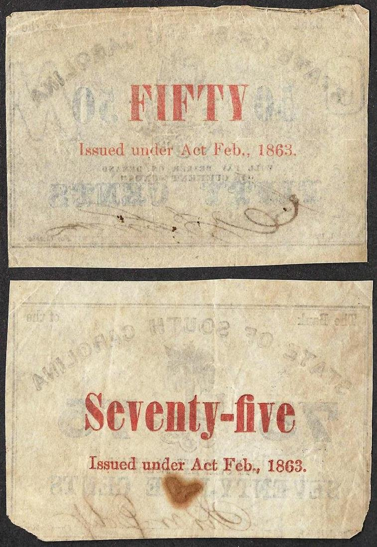 Lot of 1863 Fifty & Seventy-Five Cent State of North - 2