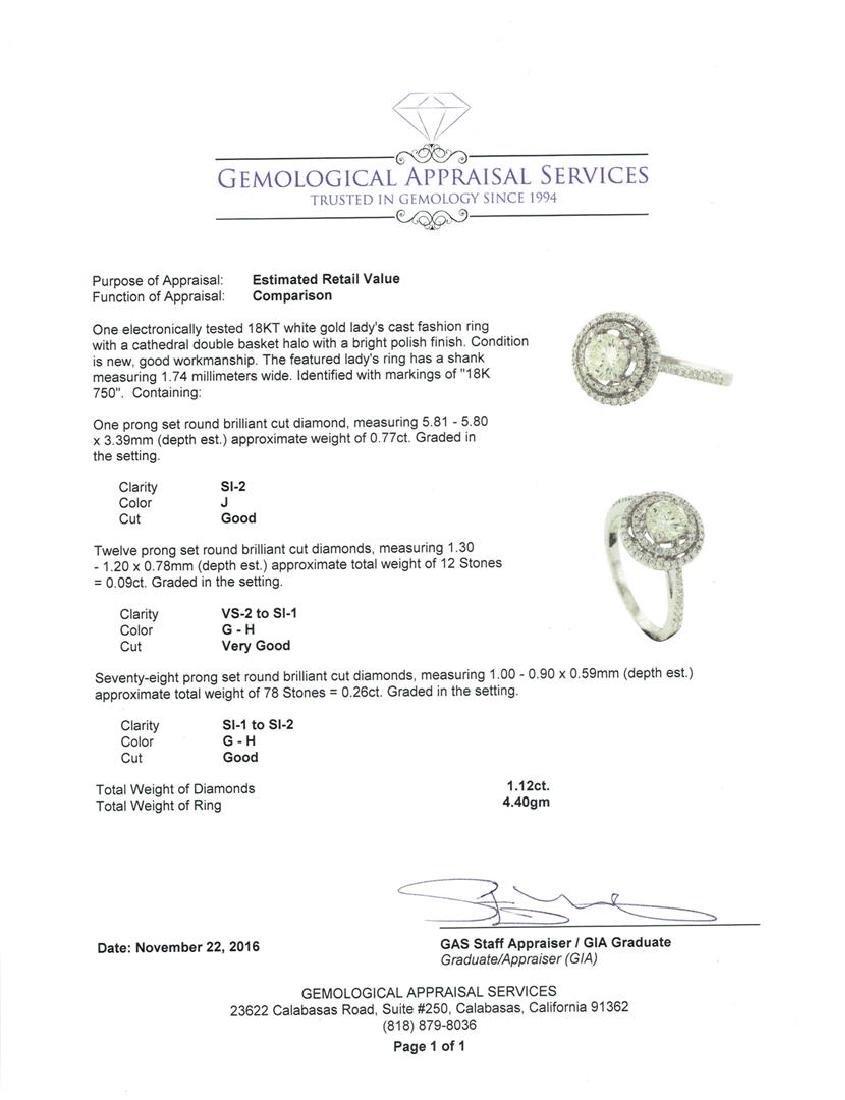 18KT White Gold 1.12 ctw Diamond Ring - 5