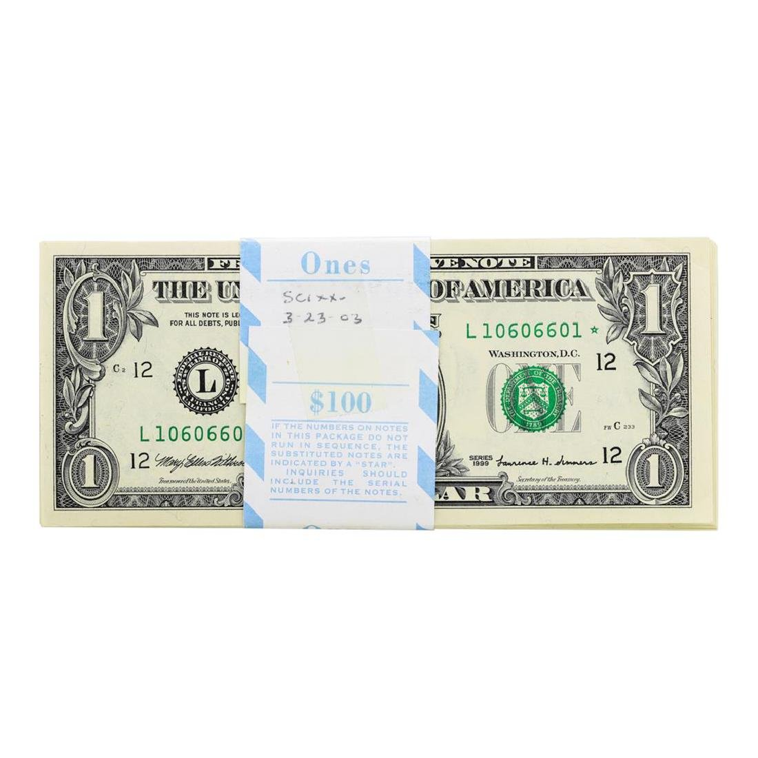 Pack of (100) Consecutive 1999 $1 Federal Reserve STAR