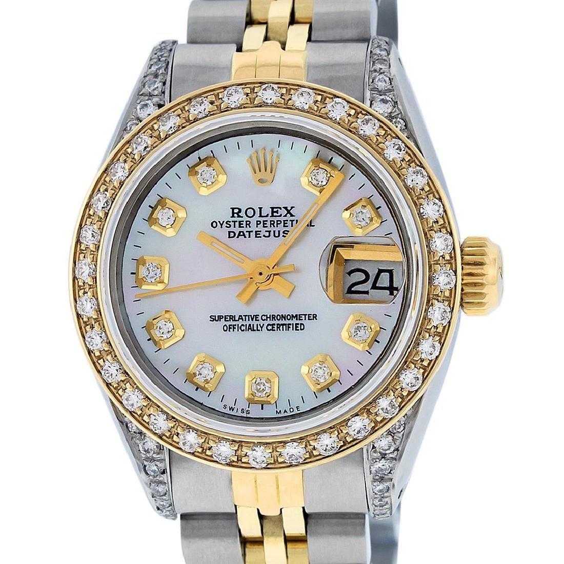 Rolex Ladies Two Tone 14K MOP Diamond Lugs Datejust - 2