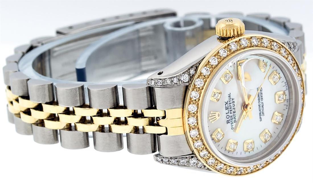 Rolex Ladies Two Tone 14K MOP Diamond Lugs Datejust - 3