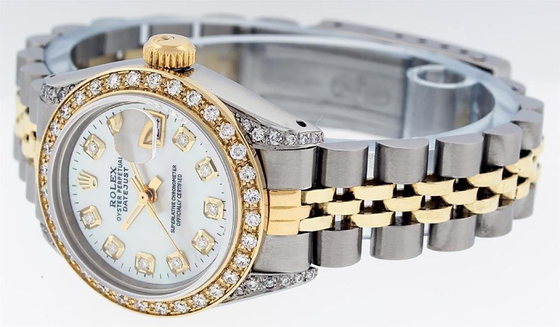 Rolex Ladies Two Tone 14K MOP Diamond Lugs Datejust - 4