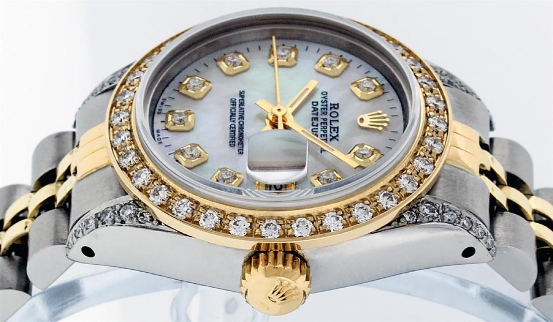 Rolex Ladies Two Tone 14K MOP Diamond Lugs Datejust - 5
