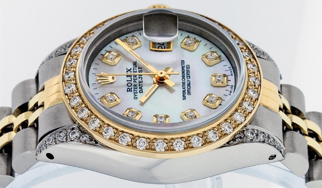 Rolex Ladies Two Tone 14K MOP Diamond Lugs Datejust - 6