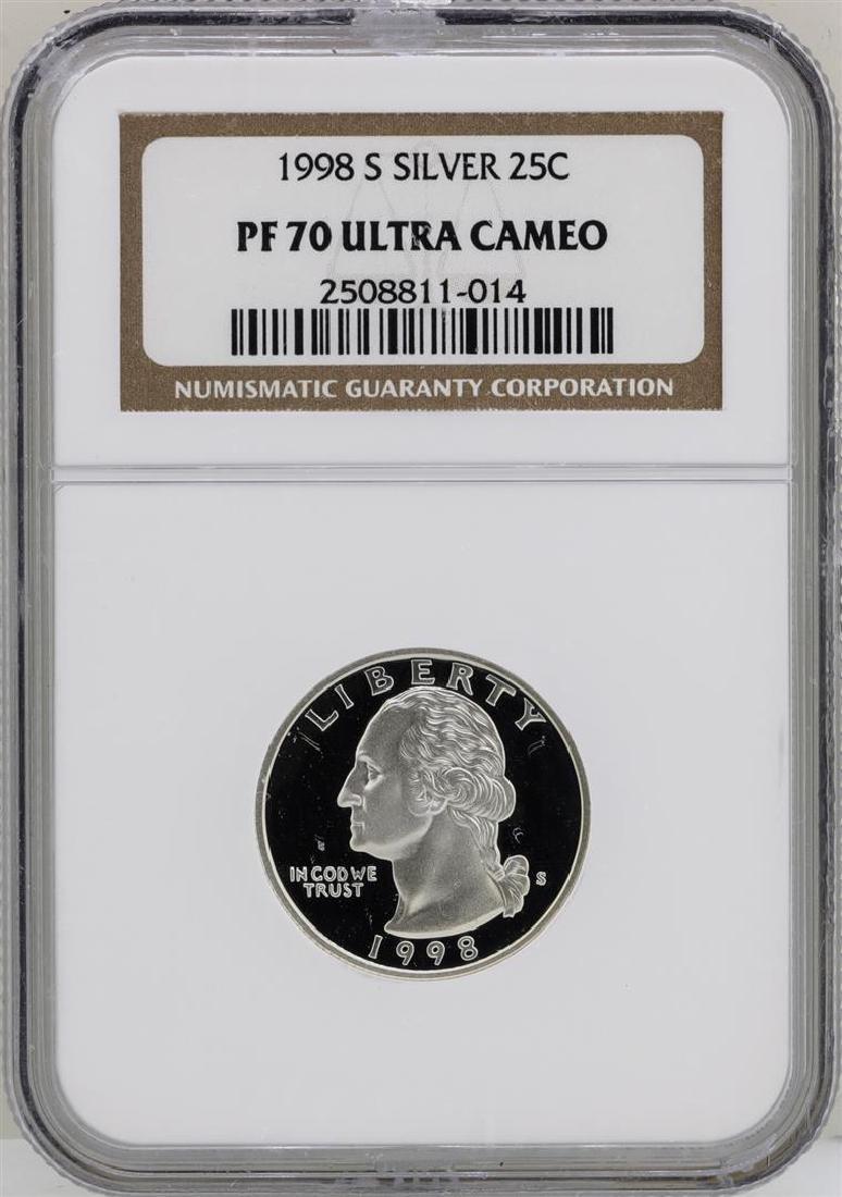 1998-S Washington Silver Proof Quarter Coin NGC PF70