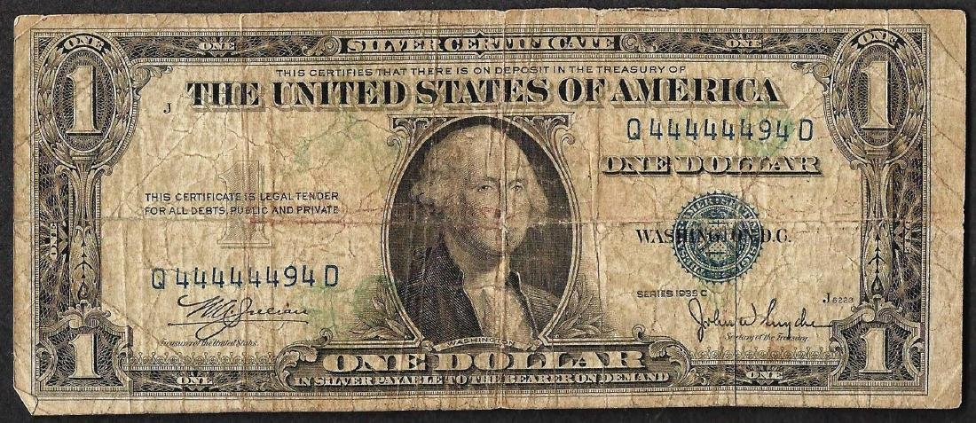 1935C $1 Silver Certificate Note FANCY Serial Number