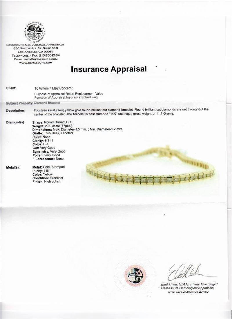 14KT Yellow Gold 2.00 ctw Diamond Tennis Bracelet - 5