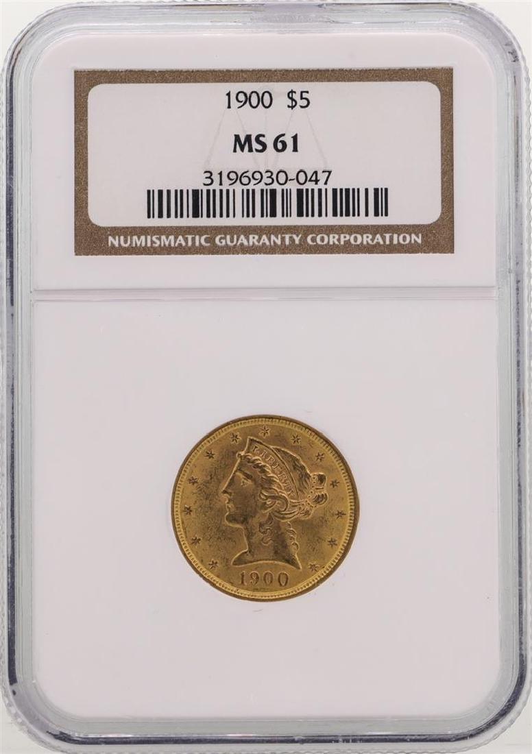 1900 $5 Liberty Head Half Eagle Gold Coin NGC MS61