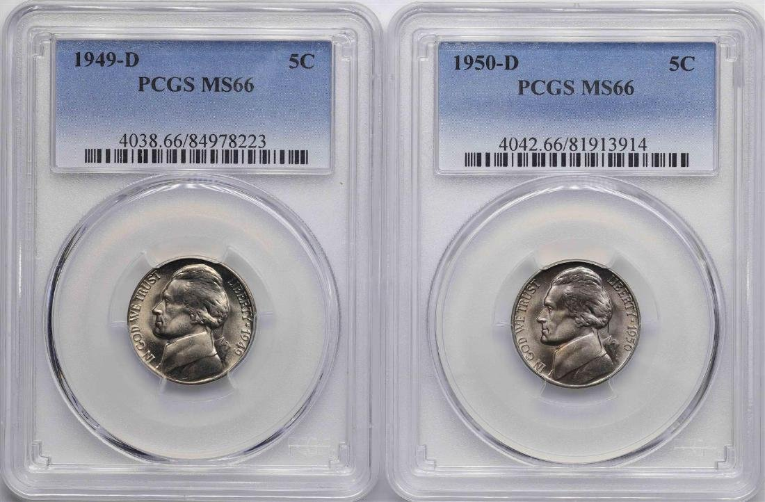 Lot of 1949-D & 1950-D Jefferson Nickel Coins PCGS MS66