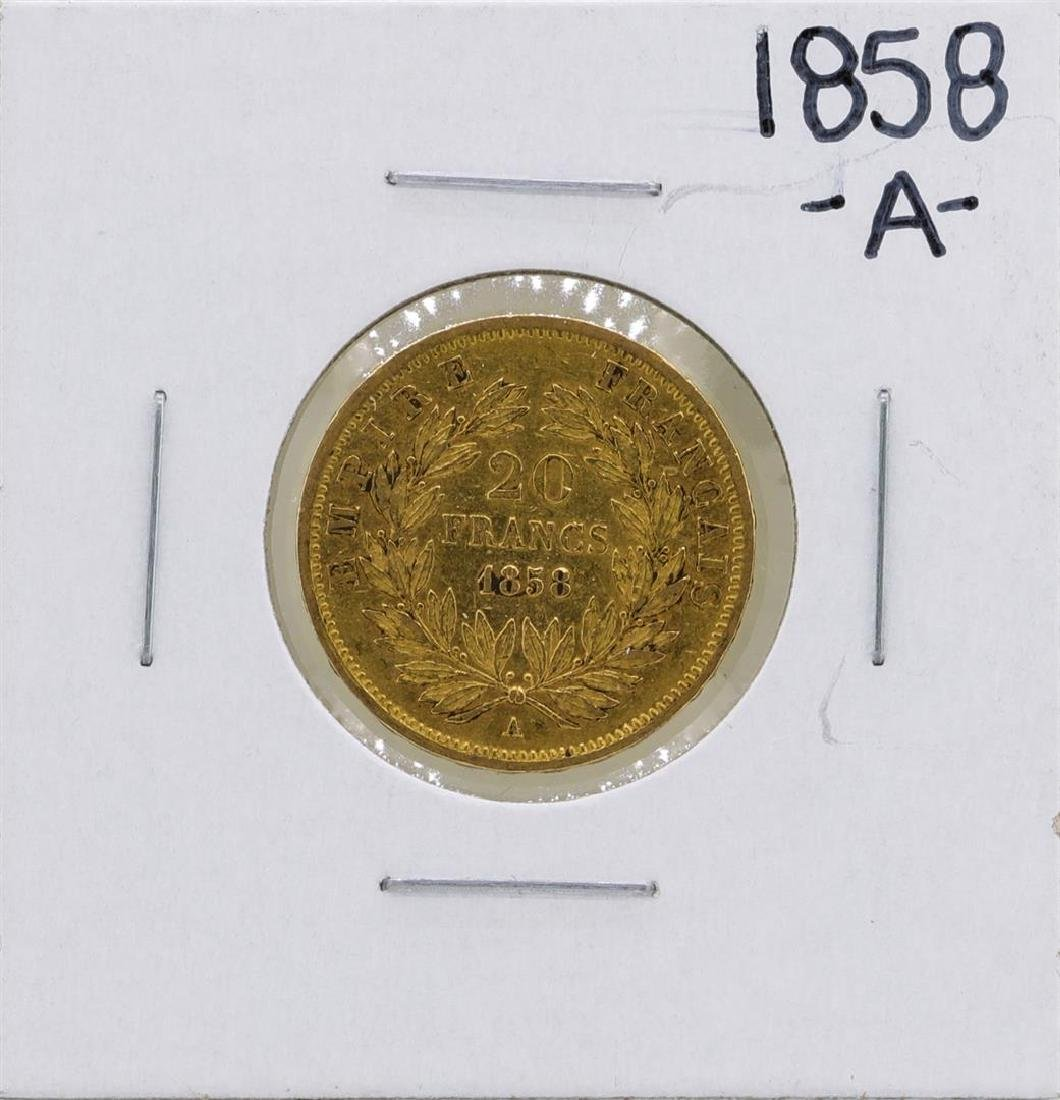 1858-A France 20 Francs Gold Coin - 2