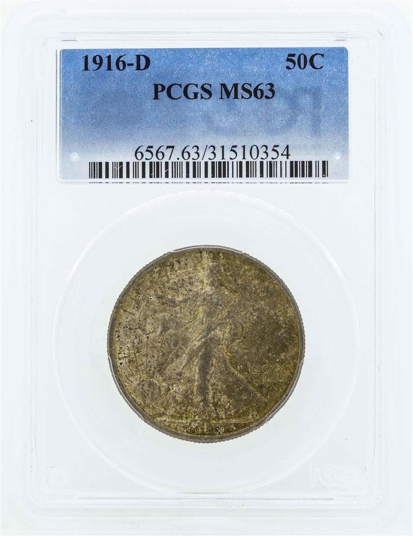 1916-D Walking Liberty Half Dollar Coin PCGS MS63