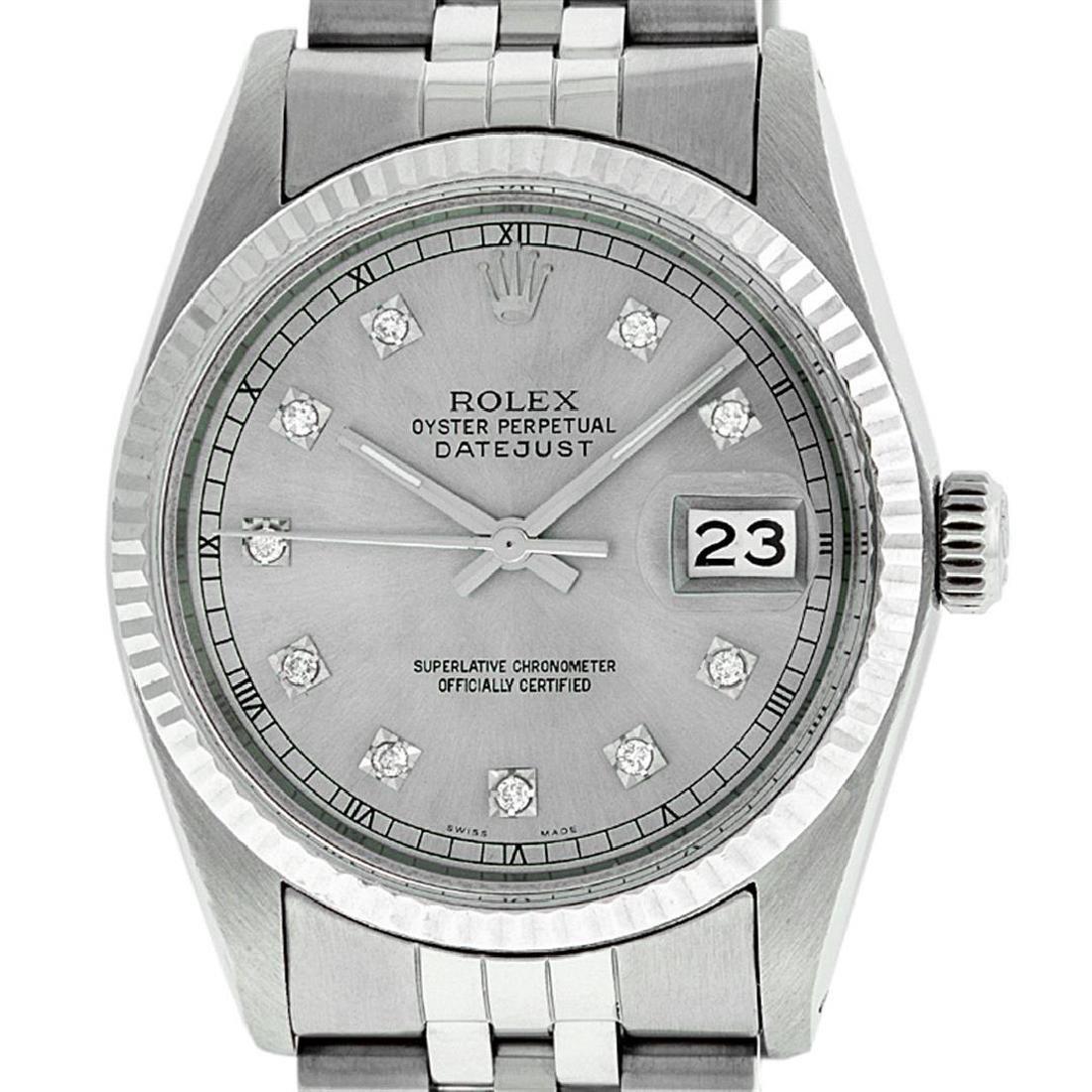 Rolex Men's Stainless Steel 36MM Slate Grey Diamond