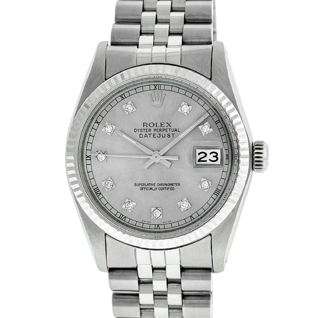 Rolex Men's Stainless Steel 36MM Slate Grey Diamond - 2
