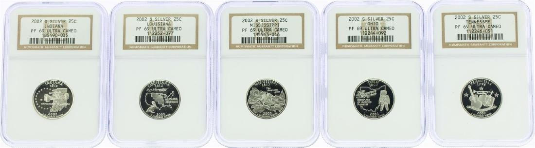 Lot of (5) 2002-S State Quarter Silver Coins NGC PF69