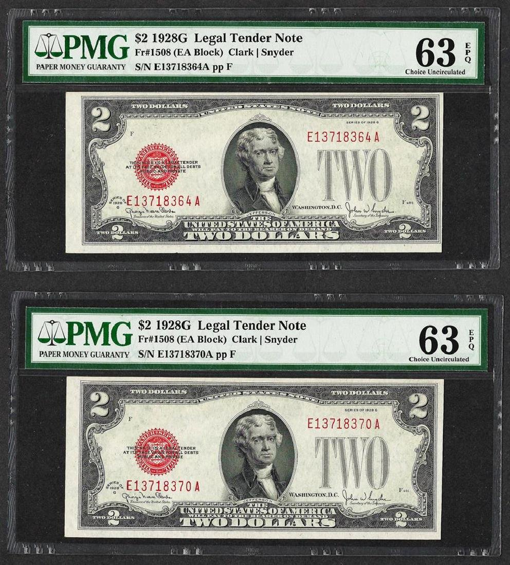 Lot of (2) 1928G $2 Legal Tender Notes Fr.1508 PMG