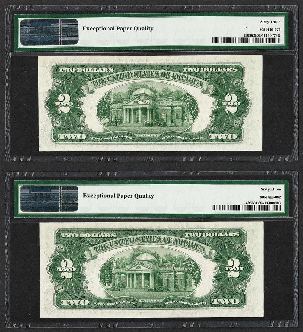 Lot of (2) 1928G $2 Legal Tender Notes Fr.1508 PMG - 2