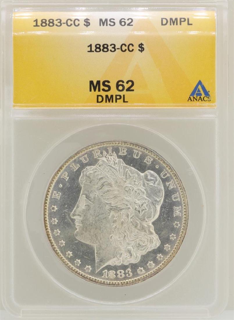1883-CC $1 Morgan Silver Dollar Coin ANACS MS62DMPL