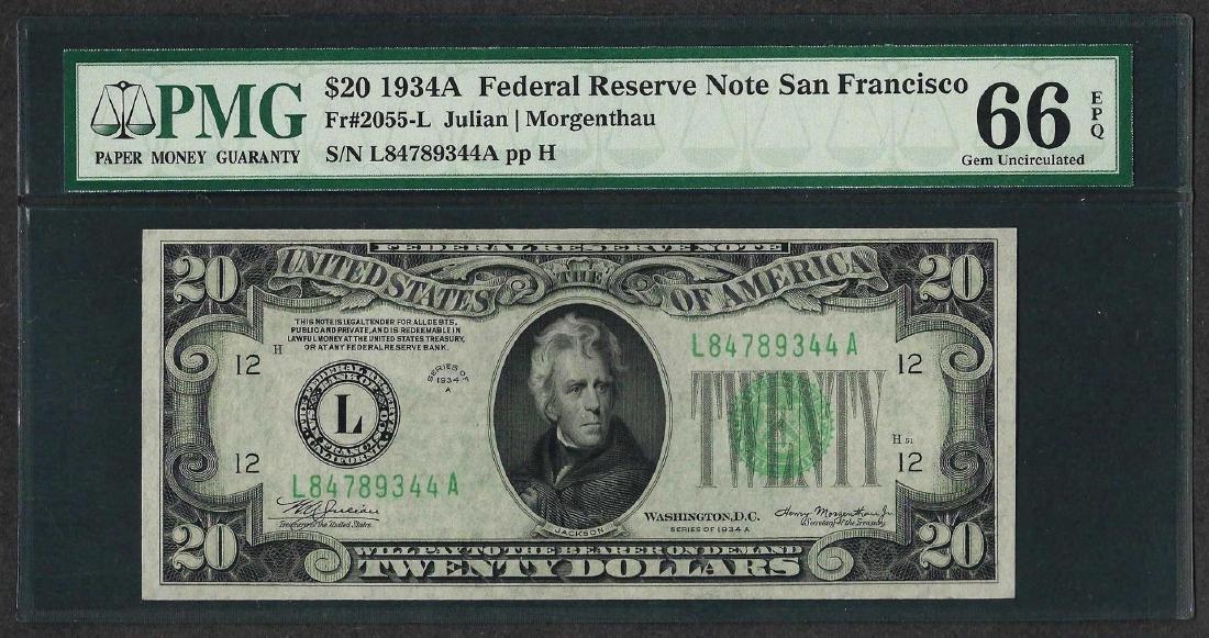 1934A $20 Federal Reserve Note San Francisco Fr.2055-L