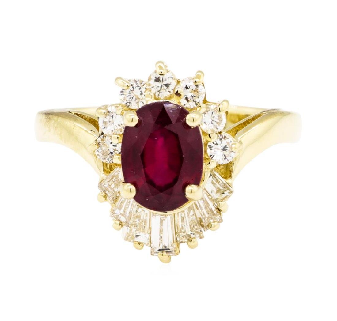 14KT Yellow Gold 1.86 ctw Ruby and Diamond Ring - 2