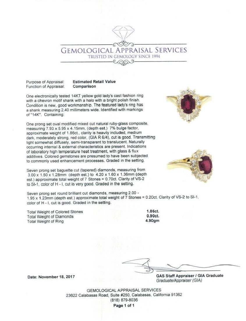 14KT Yellow Gold 1.86 ctw Ruby and Diamond Ring - 5