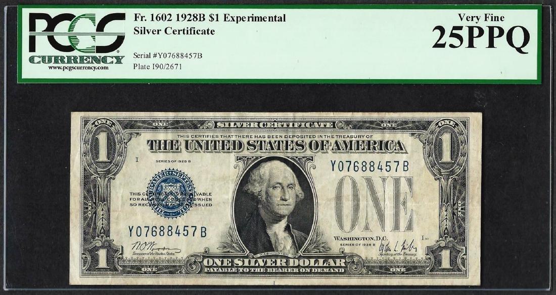 1928B $1 Experimental Silver Certificate Note Fr.1602