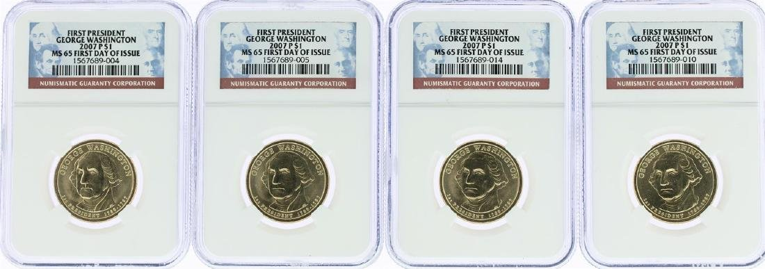 Lot of (4) 2007-P George Washington Presidential Dollar
