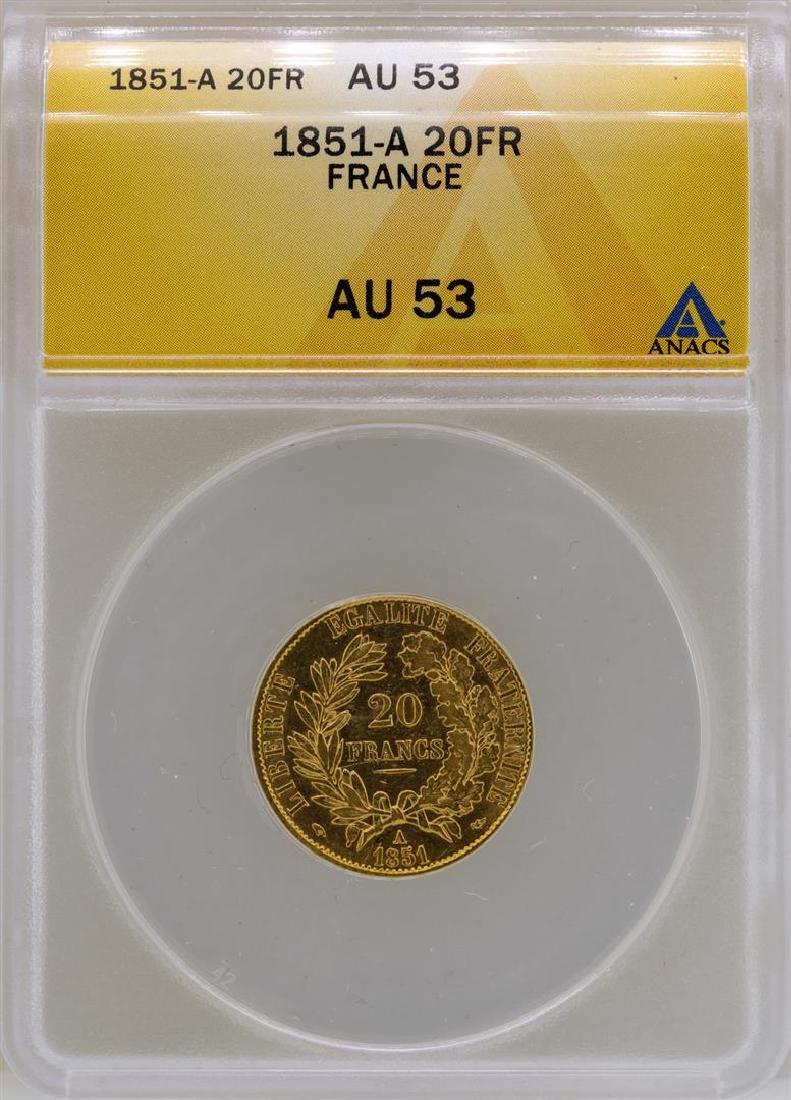 1851-A France 20 Francs Gold Coin ANACS AU53