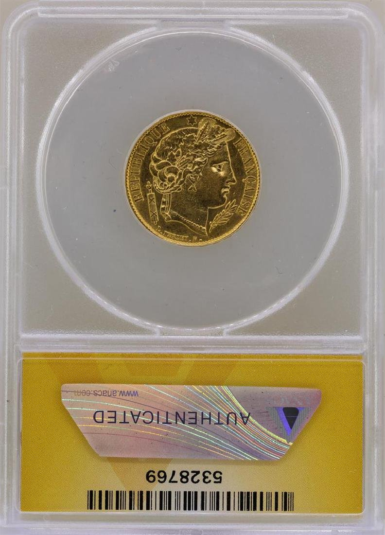 1851-A France 20 Francs Gold Coin ANACS AU53 - 2