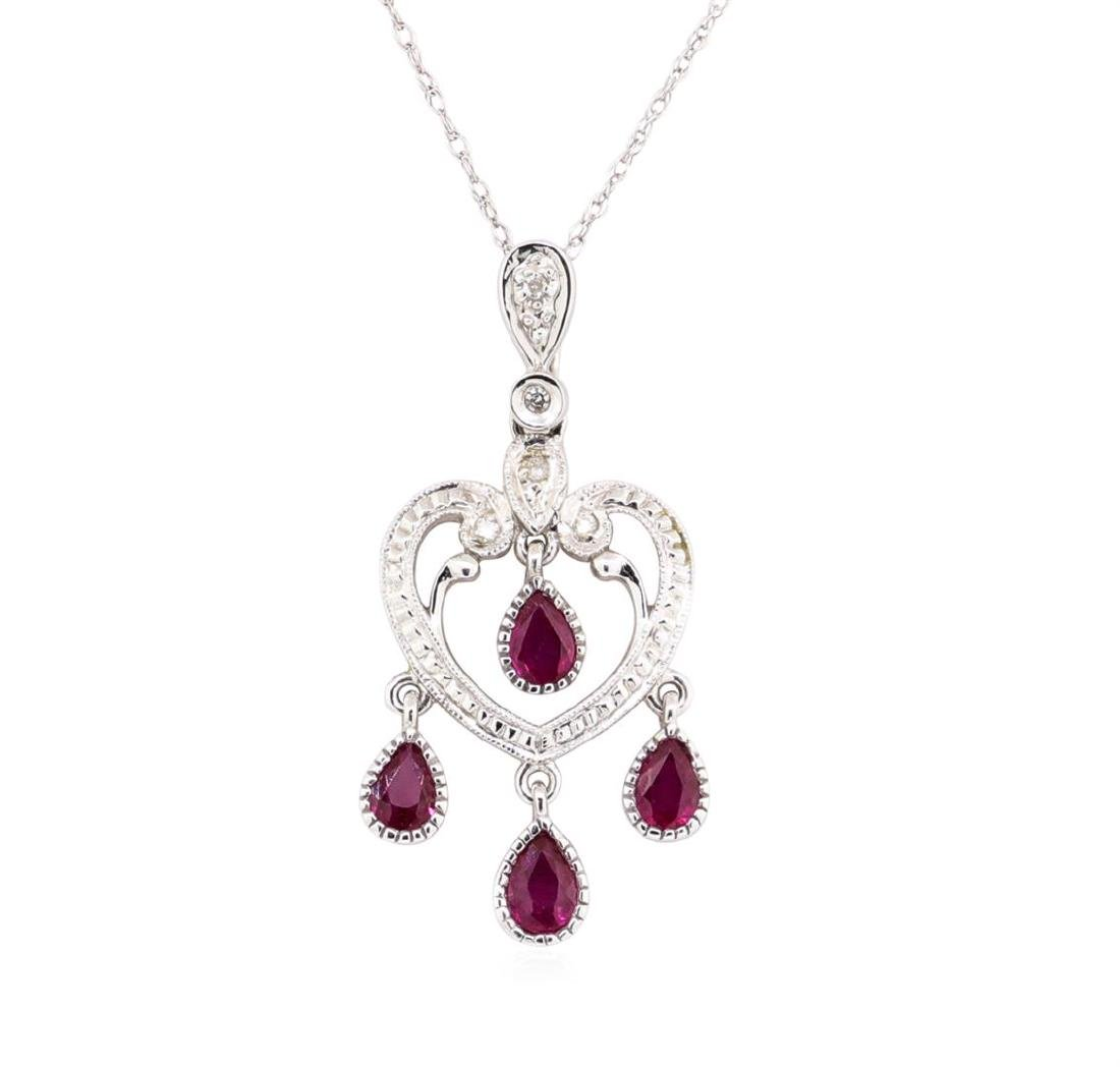 14KT White Gold 0.50 ctw Ruby and Diamond Heart Shaped