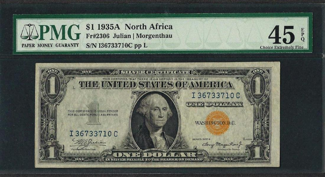 1935A $1 North Africa Silver Certificate WWII Note PMG