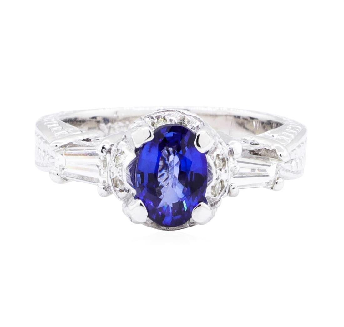 18KT White Gold 1.36 ctw Sapphire and Diamond Ring - 2
