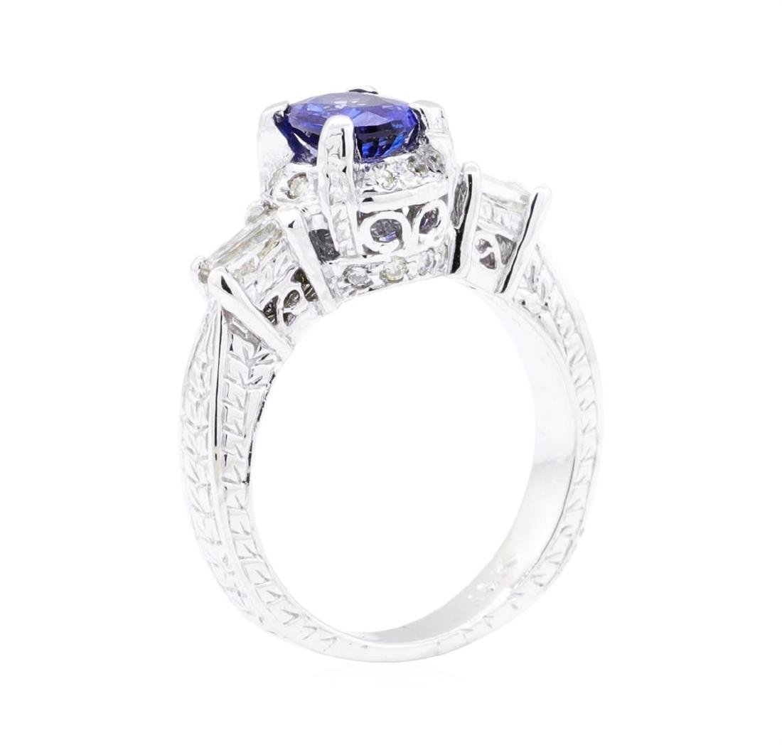 18KT White Gold 1.36 ctw Sapphire and Diamond Ring - 4