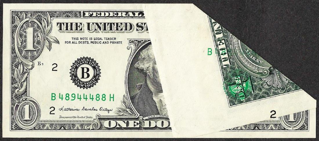 1988 $1 Federal Reserve Note Printed Fold ERROR