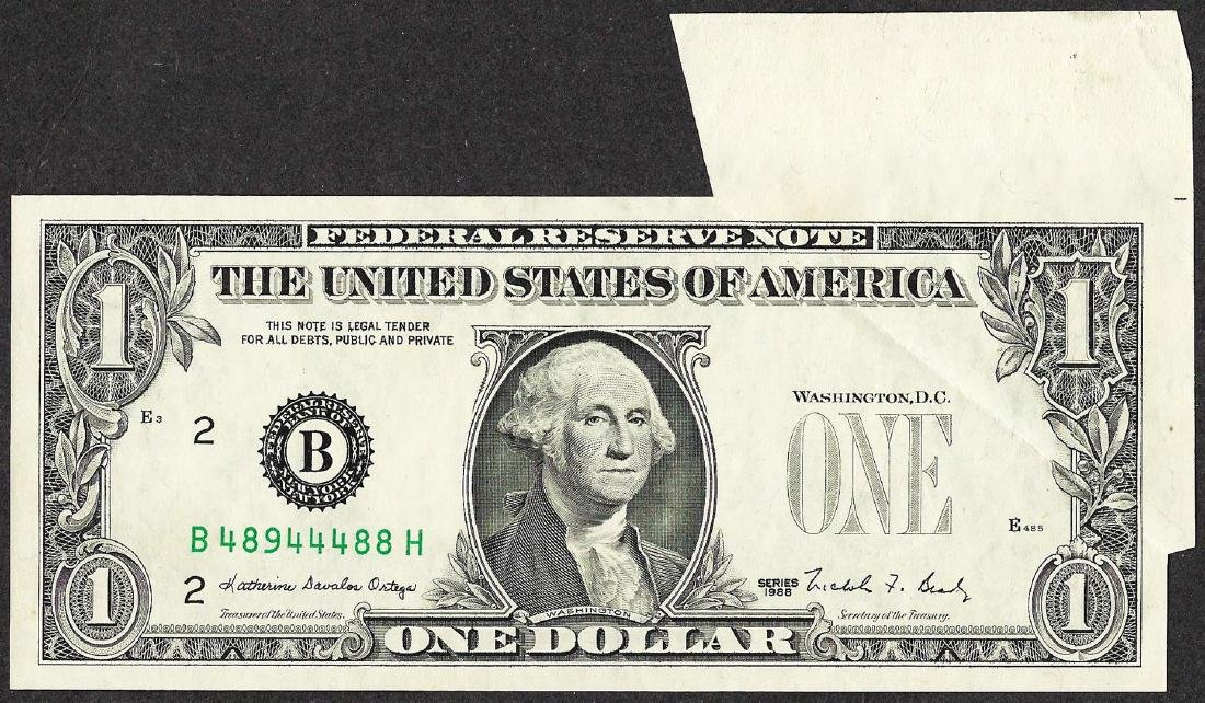 1988 $1 Federal Reserve Note Printed Fold ERROR - 2
