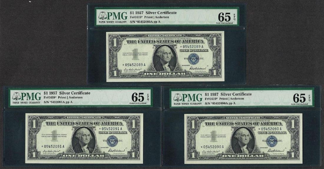 Lot of (3) Consecutive 1957 $1 Silver Certificate STAR