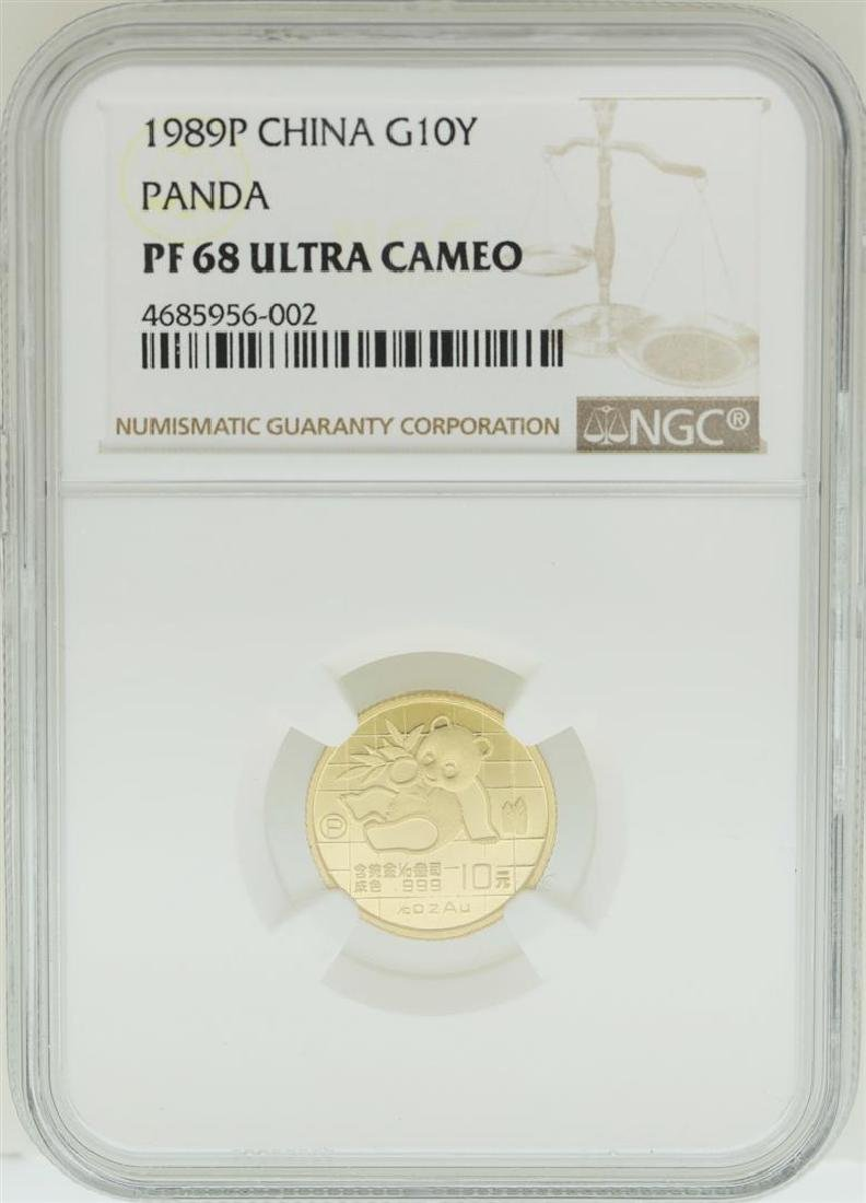 1989P China 10 Yuan Panda Gold Coin NGC PF68 Ultra