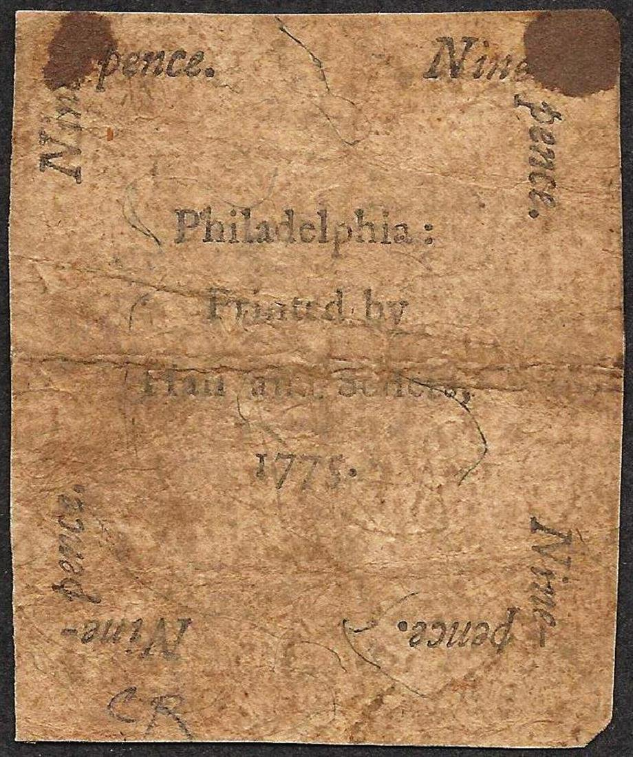 October 25, 1775 Nine Pence Pennsylvania Colonial - 2