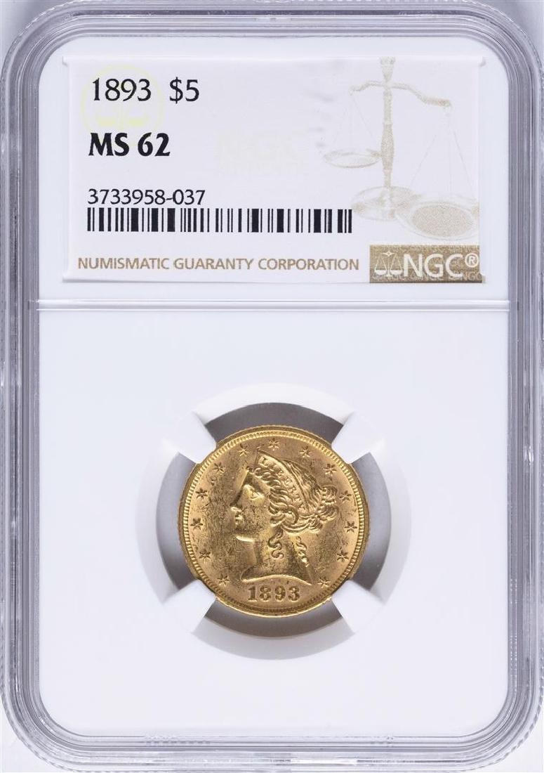 1893 $5 Liberty Head Half Eagle Gold Coin NGC MS62