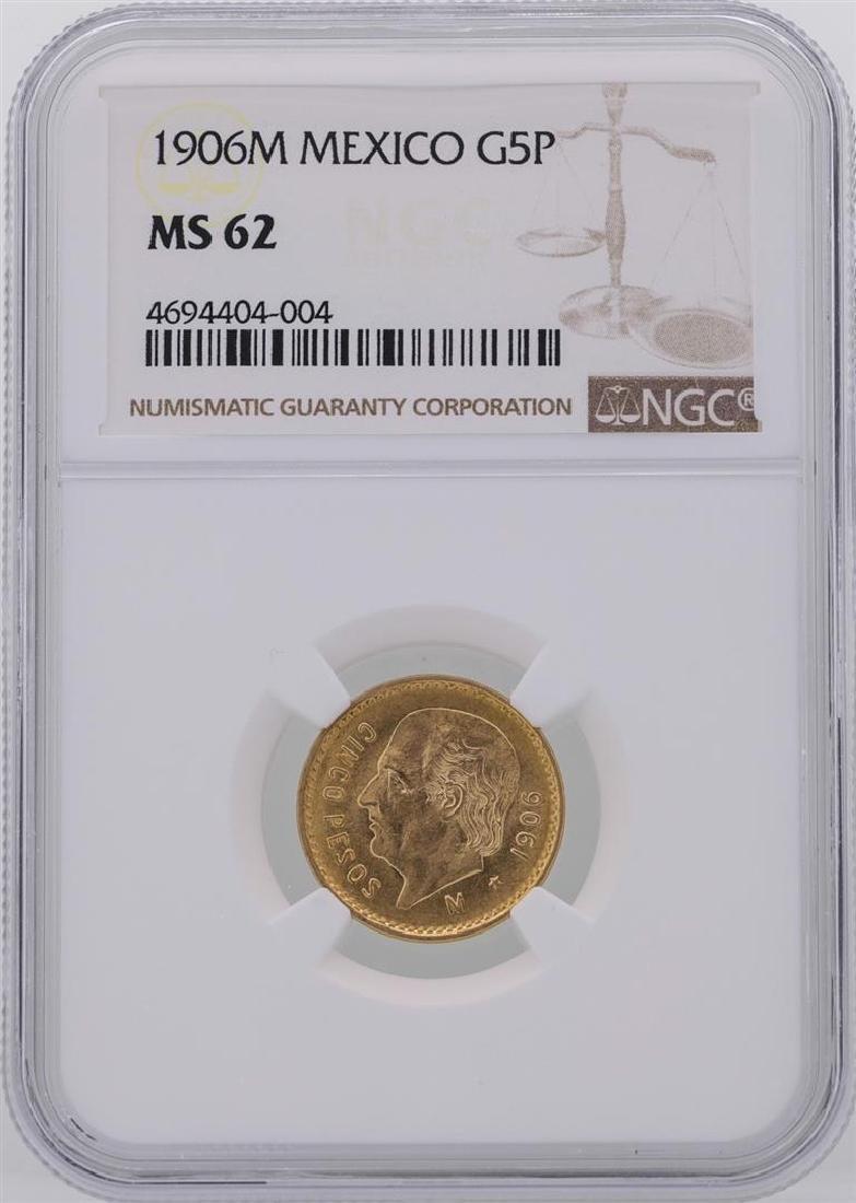 1906M Mexico 5 Pesos Gold Coin NGC MS62