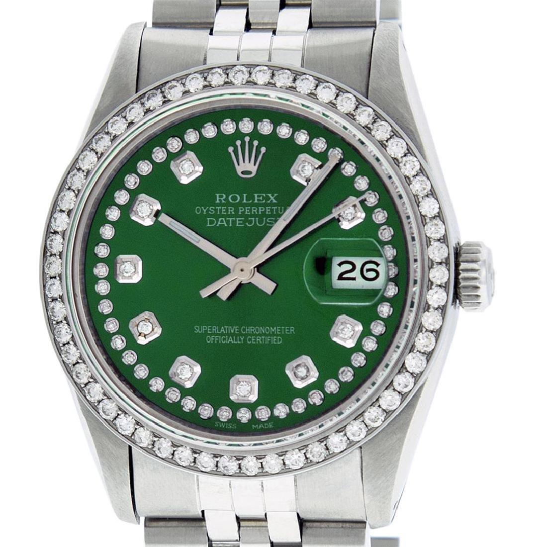 Rolex Men's Stainless Steel Green String Diamond 36MM