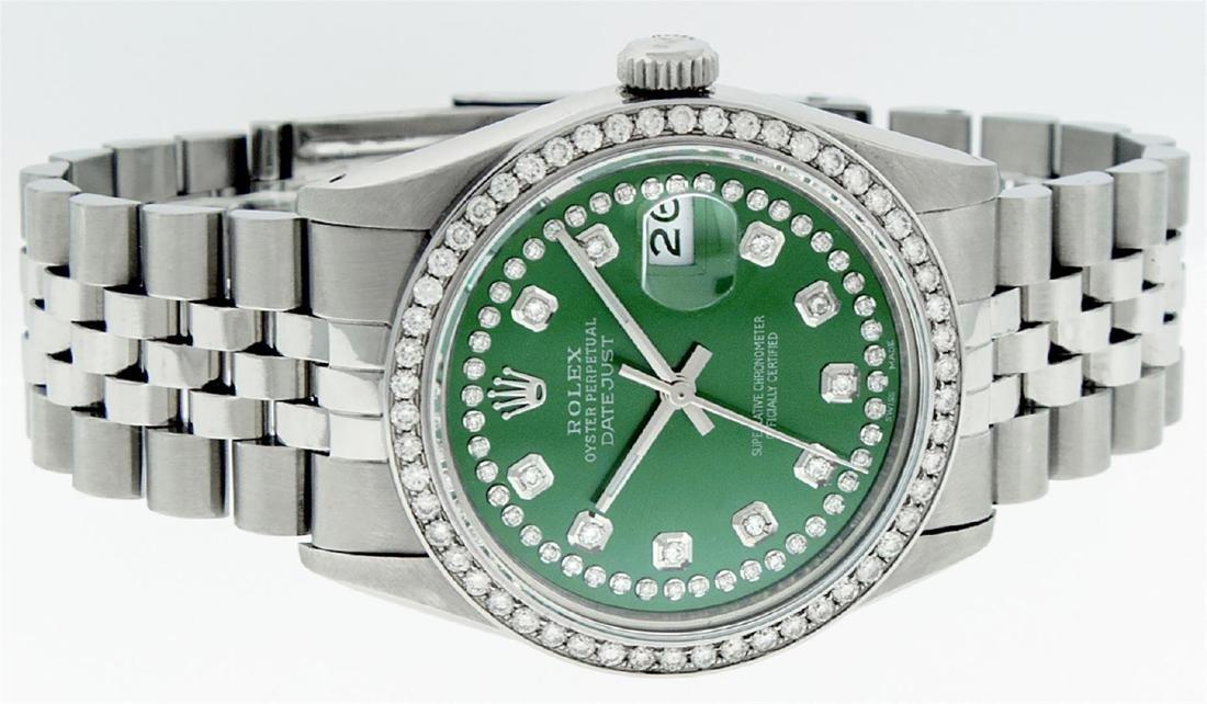 Rolex Men's Stainless Steel Green String Diamond 36MM - 3